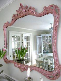 love the vintage pink mirror
