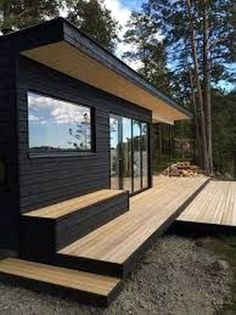 6 Effortless Tricks: Minimalist Home Exterior Woods minimalist home office awesome.Minimalist Interior Concrete Living Rooms bohemian minimalist home decor.Bohemian Minimalist Home Decor. Black House Exterior, Cafe Exterior, Craftsman Exterior, Garden Office, Backyard, Patio, Types Of Houses, Bungalows, Prefab