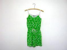 vintage 80s green floral jumper  romper by dirtybirdiesvintage, $24.00