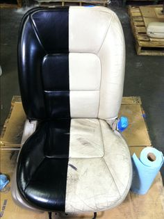 New Product!! Leather Cote upholstery spray is NOW available on http://www.professionaldye.com/ Check it out and look at this white leather seat sprayed black.