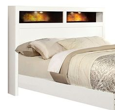 HOMES: Inside + Out ioHOMES Two-Tone Maxus Bed with Bookshelf Headboard, King, White/Black