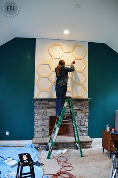 Excellent Pic Fireplace Remodel mid century Ideas – Rebel Without Applause Faux Fireplace Mantels, Fireplace Update, Brick Fireplace Makeover, Fireplace Remodel, Fireplace Ideas, Fireplace Facing, Mid Century Modern Fireplace Makeover, Midcentury Modern Fireplace, Modern Mantle