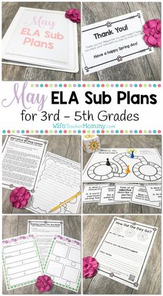 May Sub Plans for 3rd Grade, 4th Grade, and 5th Grade (Upper Elementary). These activities are print and GO and so much fun! Your substitute and your students will love them... and you will love how ALL of the work is done for you! Plus, the monthly themes make these extra fun for everyone!