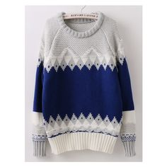 Geometric Print Blue Sweater (£12) ❤ liked on Polyvore featuring tops and sweaters