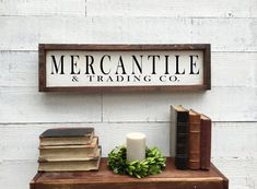 Excited to share this item from my shop: Mercantile and trading co sign, framed wood sign Shiplap Wood, Pantry Sign, Lake House Signs, Wood Wedding Signs, Rustic Chair, Handmade Market, Vintage Kitchen Decor, Kitchen Signs, Home Decor Signs