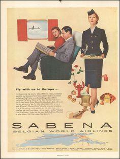 1956 Vintage ad Sabena Belgian World Airlines photo stewardess retro 091217 Vintage Travel Posters, Vintage Ads, Vintage Airline, Retro Posters, Airline Travel, Air Travel, International Airlines, Illustrations, Print Ads