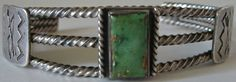 VINTAGE NAVAJO INDIAN STAMPED STERLING SILVER BOW & ARROW GREEN TURQUOISE BRACELET