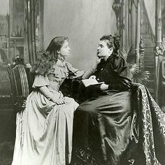 A young and beautiful Helen Keller learning to speak with the help of Anne Sullivan. There is sound film footage from many years after this picture, the 1930's, of Sullivan and Keller together and Sullivan describing the technique she used to help Keller.