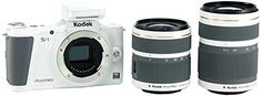"White  Double Lenses : Kodak PIXPRO S-1 Compact System Digital Camera with 12-45mm Lens 42.5-160mm Lens and 3"" Articulating LCD Screen (White)"