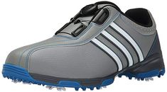 These synthetic mens 360 traxion boa cleated golf shoes by Adidas feature  climastorm water resistant technology ff17a95c16f