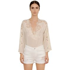 Ermanno Ermanno Scervino Women Silk Crepe De Chine & Lace Top (£290) ❤ liked on Polyvore featuring tops, beige, lacy tops, v-neck tops, beige top, pink silk top and lace top