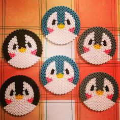 Penguin coasters perler beads by Beeby's Bead Sprites