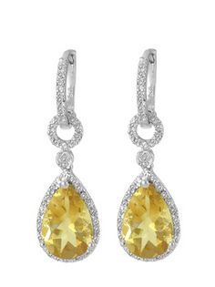 $34.99 - 6 Carat Citrine and 1/10 Carat Diamond Earrings in Silver