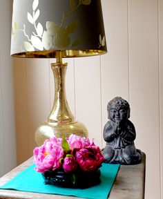 Pier 1 Gold Leaf Glass Lamp