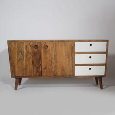 """Buffet bas """"BALTIK"""" 2 portes 3 tiroirs en manguier naturel. http://www.made-in-meubles.com/buffet-tv-2-portes-3-tiroirs-en-manguier.html"""