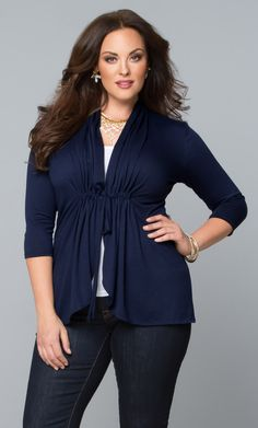 Layer on the style in our navy blue plus size Sunset Stroll Bellini.  The perfect cardigan for the right amount of chill.  Shop our entire made in the USA collection at www.kiyonna.com.  #KiyonnaPlusYou