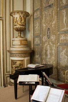 Palais Auersperg Vienna, Maria Theresien Saal. Die wundervollen Seidentapisserien mit griechischen Motiven, die prunkvollen weiß-goldenen Empireöfen und der edle Tafelfußboden bestimmen die besondere Eleganz dieses Raums. Hier sitzen die Gäste, die es gerne etwas ruhiger haben. Foto: Hannes Sallmutter
