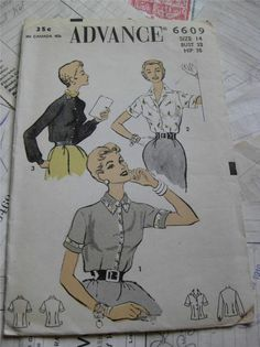 Vintage 1950's Advance Pattern- Fitted Blouse- Size 14