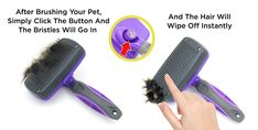 Hertzko Self Cleaning Slicker Brush ¨C Gently Removes Loose Undercoat, Mats and Tangled Hair ¨C Your Dog or Cat Will Love Being Brushed with The Grooming Brush, Tangled Hair, Dog Cleaning, Best Brushes, Brush Type, Buy Pets, Dog Care Tips, Cat Grooming, Loose Hairstyles, Hair Removal