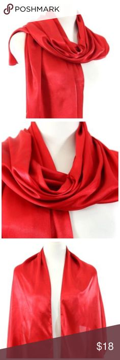 "B14 Red Satiny Silk Lightweight Shawl Wrap Scarf ‼️ PRICE FIRM UNLESS BUNDLED WITH OTHER ITEMS FROM MY CLOSET ‼️   Satiny Feel Wrap    Sure to dress up the most basic outfit.  60% polyester, 40% silk.  21"" wide, 62"" long.  Please check my closet for many more items including clothing and jewelry. Accessories Scarves & Wraps"