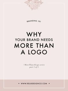 why you need more than a logo for your business branding small branding tips small business Reux Design Co. Social Media Branding, Business Branding, Personal Branding, Logo Branding, Branding Process, 3d Logo, Typography Logo, Corporate Branding, Visual Identity