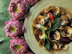 Stir fried clams with Thai chili jam and basil