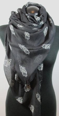 Owl Print Long Scarf in Black: