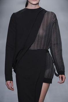 Mixed fabrics, layering & asymmetric drape; fashion details // Lucas Nascimento S/S 2015