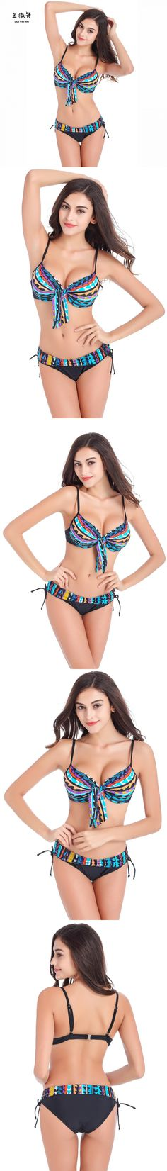 #Bikinis Women 2016 Print Floral Bikini Women Swimsuits Brazilian Push Up Bikini Set Bathing Suits Plus Size Swimwear Female $17.88