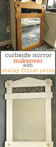 Wood mirror painted with chalky finish paint and gold metallic paint, distressed and waxed for a vintage farmhouse look, #mirrormakeover #distressedlook #vintagelook #farmhousestyle #lazyDIY #curbsidefind #chalkyfinishpaint How to Makeover a Curbside Mirror the Lazy Way theboondocksblog.com