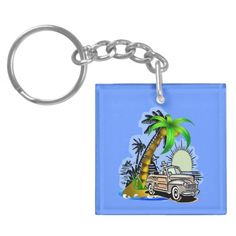 Tropical scene Key Chain Acrylic Key Chain