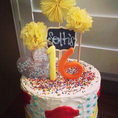 Vintage Pom Pom themed Happy Birthday Cake