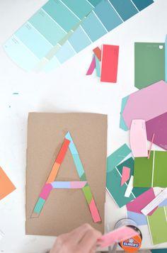 DIY Name Garland from paint strips via ArtBarBlog