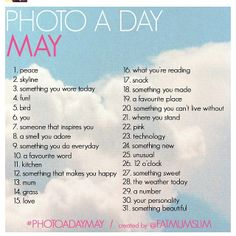 Photo a day challenge list for May 2012: hmm, I like this. I might do it.