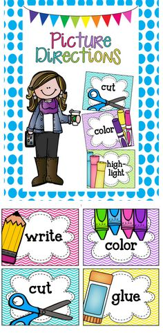 Use these colorful direction cards to show your little ones what you want them to do! Print onto cardstock, cut, and laminate for durability. Add a magnet to the back to use on a chalkboard or other magnetic surface! Included: *write *color {crayons/markers} *colour {crayons/markers} *cut *glue {bottle/stick} *highlight *outline *paint *turn in *name *read