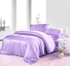 Pure Enjoyment Violet Silk Bedding Silk Duvet Cover Set Purple Bedding, Silk Bedding, Queen Size Bedding, New Room, Diy Bedroom Decor, Bedroom Ideas, Luxury Bedding, Duvet Cover Sets, Girl Room