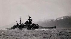 8 in heavy cruiser Admiral Hipper in Norwegian waters, December 1942.  She was involved in an inconclusive attack on an Arctic convoy that month (Battle of the Barents Sea).