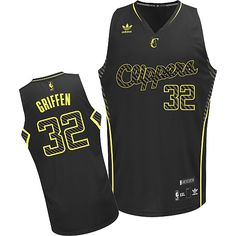 Adidas NBA Los Angeles Clippers 32 Blake Griffin Electricity Fashion Swingman Black Jersey