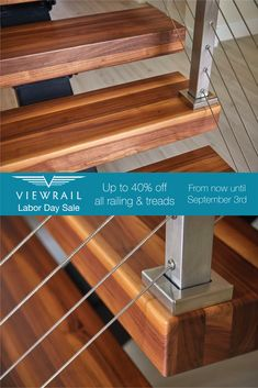 You're in luck! We're having a special Labor Day sale on all of our railing and stair treads. Head to our website to start building your system, and save up to 40% off! But be warned—this exclusive sale only lasts until September 3rd. #design #interiordesign #DIY #renovation #Viewrail #ViewrailFLIGHT #FloatingStairs #FloatingStaircase #stairs #staircase #architecture #cablerailing #railing #rodrailing #glassrailing #modern #contemporary #coastal #deck #balcony #exterior #sale #treads