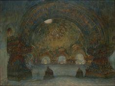 Temple à la Pensée, dédié à Beethoven de François Garas, vue intérieure, 1901, aquarelle et gouache sur papier, 51 x 66 cm, Musée d'Orsay à Paris.