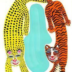 Cartoon illustration of cheetah and tiger illustration by Christopher Corr Tiger Illustration, House Illustration, Portrait Illustration, Illustration Sketches, Pattern Illustration, Graphic Illustration, Tiger Art, Guache, Teaching Art