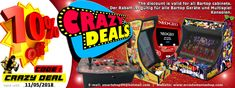 This weeks Arcade Bartop discount offers are underway !!! Grab your 10% Coupon now.  DISCOUNT CODE : CRAZY DEAL  Valid for as many purchases as you guys want , until May 11 Midnight !!! Welcome in the Arcade Shopping Therapy® www.arcadomaniashop.com