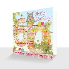 A 60th Birthday card featuring Oakley Owl from an original painting by artist Kay Burton. From paintings illustrating the story of Oakley Owl and Friends in the Down the Lane Collection. The design continues to the back of the card for that luxury touch.
