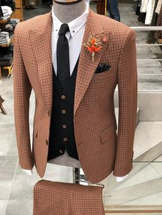MCR Camel Slim Fit Patterned Suit – MCR TAILOR Slim Fit Tuxedo, Slim Suit, Dress Suits For Men, Suit And Tie, Mens Pleated Trousers, Mens Suit Accessories, Blazer Outfits Men, Mens Fashion Suits, Men's Fashion