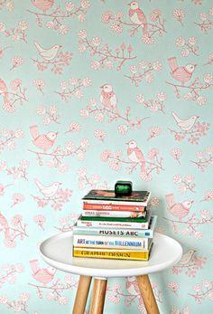 Majvillan Wallpaper | Sugar Tree in Turquoise by Majvillan | JUST KIDS WALLPAPER™