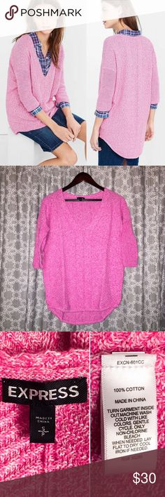 [express] marled enginered london tunic sweater • style name: marled enginered rib london tunic sweater • color: marled pink • rounded v neckline • dropped shoulders w/ 3/4 length sleeves • all over engineered ribbing • hi-lo ribbed hem, back falls to just above knee • condition: great preowned, only worn once, love the style just not the color ____________________________________ ✅ make an offer!     ✅ i bundle!                      ⛔️ posh compliant closet & no trades Express Sweaters…