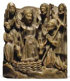 A RECTANGULAR CARVED ALABASTER RELIEF OF THE ADORATION OF THE SHEPHERDS