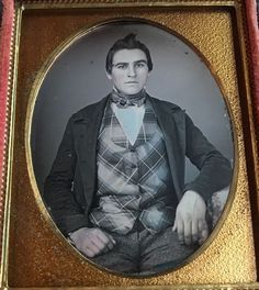 This is a daguerreotype of a very handsome young man with great hair and thick eyebrows. The gentleman also has skin color tinting on his face and hands. | eBay!