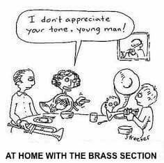 Brass players at home.