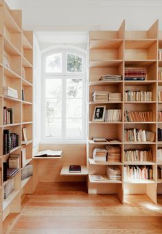 Interesting home library and office -- Designed by João Mendes Ribeiro. Home library with window-seat. R Bobo Bibliotheque Design, Built In Bookcase, Bookcases, Library Bookshelves, Bookshelf Ideas, Bookshelf Styling, Bookshelf Design, Bookshelf Inspiration, Bookcase Desk